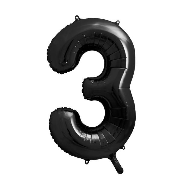 Folienballon '3' 86 cm - schwarz