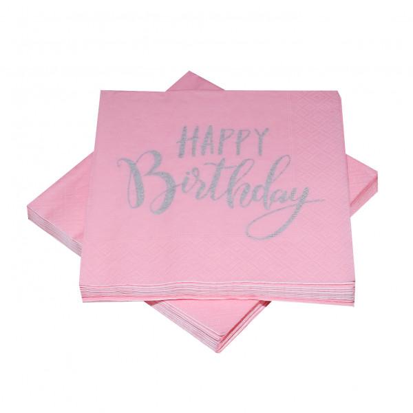 Servietten 'Happy Birthday' rosa & silber (20 Stück)