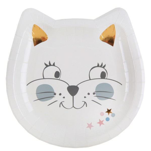 Katzen Party Teller (10 Stück) - weiß