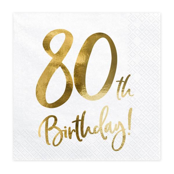 Servietten '80th Birthday' (20 Stück) weiß & gold