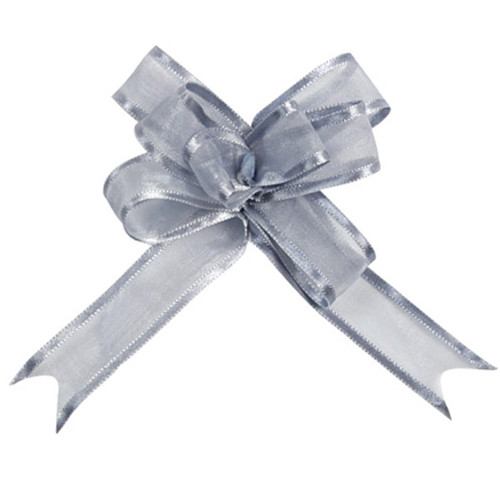 Organzaschleife / Automatikschleife 'Maxi' (5 Stück) - silber