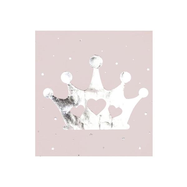 Servietten 'Prinzessin' (16 Stück) - rosa & silber