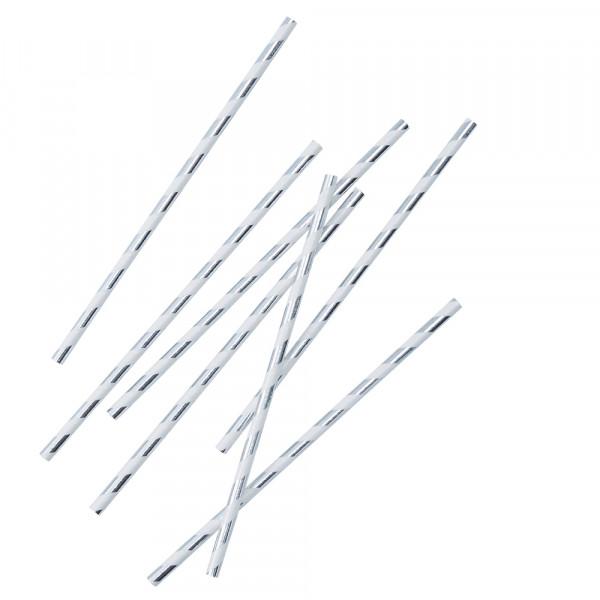 Strohhalme / Trinkhalme gestreift (25 Stück) - Silber Metallic