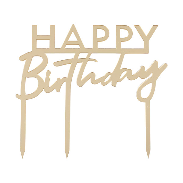 Tortenstecker Acryl Happy Birthday - gold