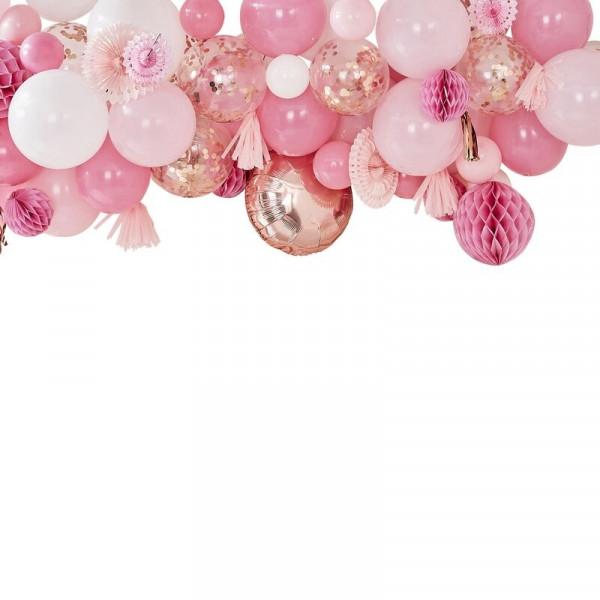 Ballon & Fächer Girlande / Bogen (90 tlg.) - rosa & roségold