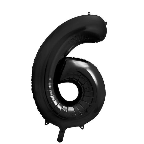 Folienballon '6' 86 cm - schwarz