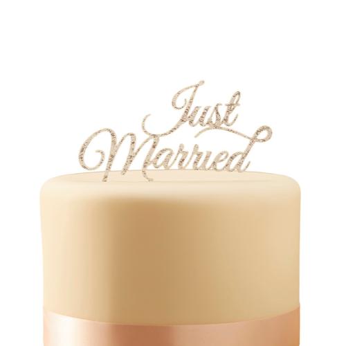 Tortenstecker Acryl Just Married - silber