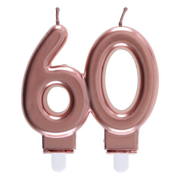 Geburtstagskerze / Zahlenkerze 60' - roségold