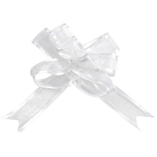 Organzaschleife / Automatikschleife 'Mini' (5 Stück) - weiß