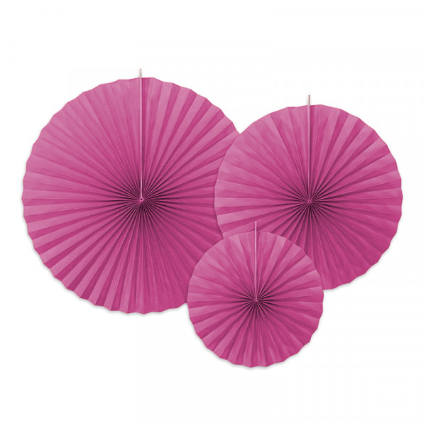 Dekofächer / Dekorosetten 3-teilig - pink