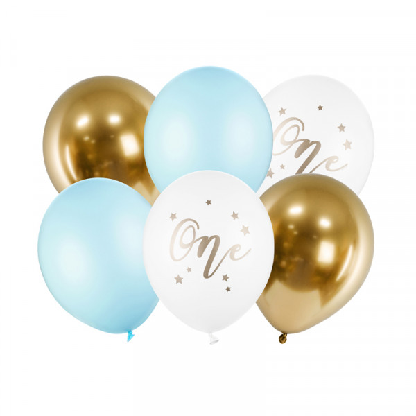 Luftballons 1. Geburtstag 'One' (6 Stück) 30 cm - hellblau & gold
