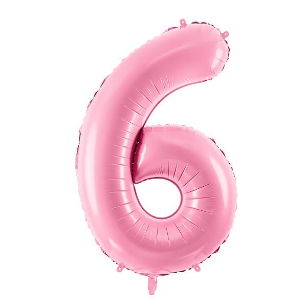 Folienballon '6' 86 cm - rosa