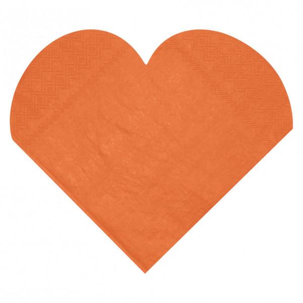 Servietten Herz (20 Stück) - orange