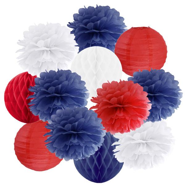 Hängedekoration 12 teilig Mix blau, rot & weiß