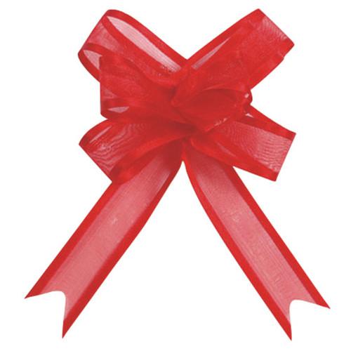 Organzaschleife / Automatikschleife 'Mini' (5 Stück) - rot