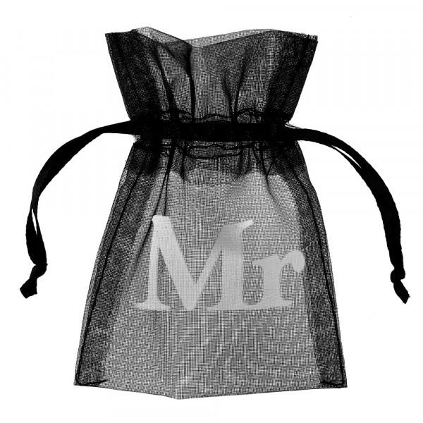 Organzasäckchen 'Mr' 7,5 x 10 cm (10 Stück) - schwarz