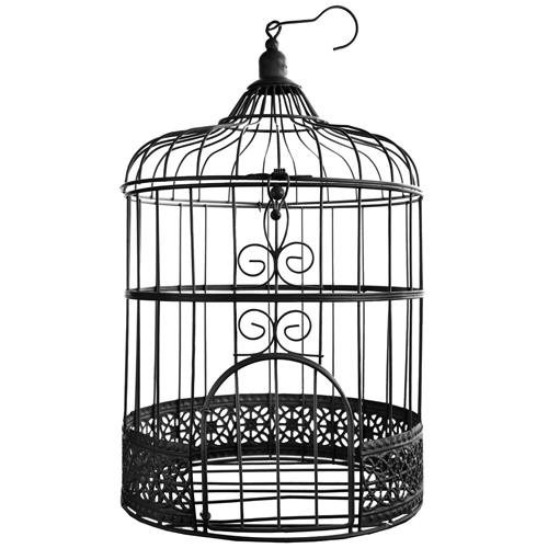 Briefbox / Geschenkbox Vogelkäfig 31 cm - schwarz
