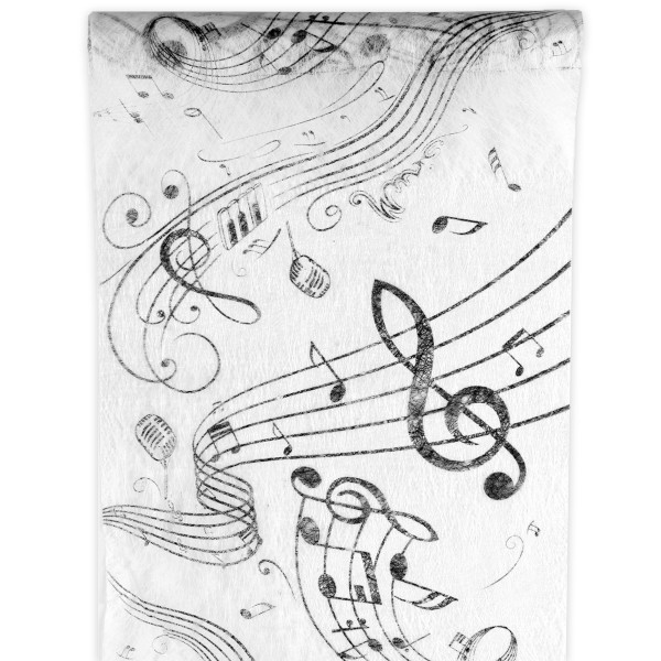Tischläufer Musik 30 cm x 5 m - weiß & schwarz