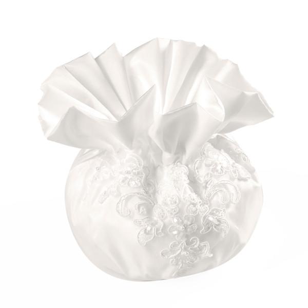 Brautbeutel aus Satin mit Spitze & Perlen - creme