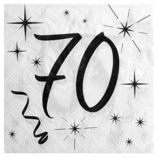 Servietten 70. Geburtstag - weiß & schwarz