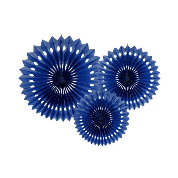 Dekofächer / Dekorosetten 3-teilig - blau