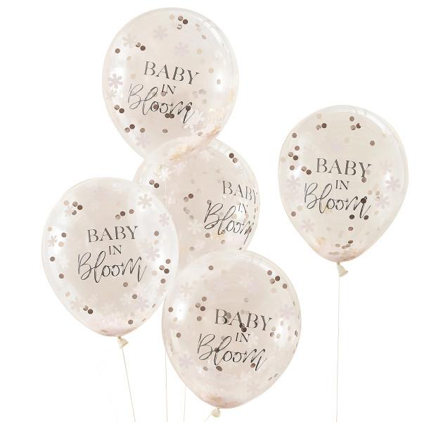 Baby in Bloom Konfetti Luftballons 5 Stück roségold