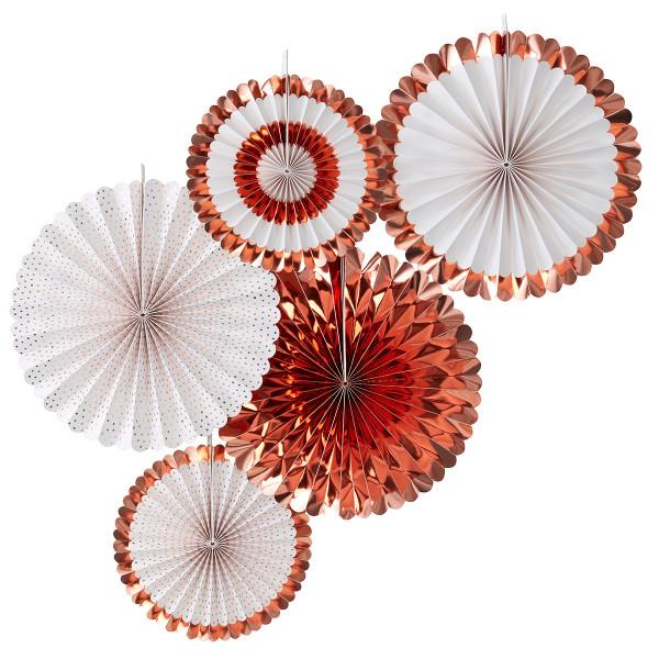 Dekofächer / Dekorosetten (5 Stück) - roségold & weiß
