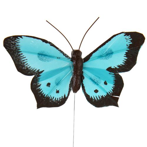 Schmetterlinge mit Draht (6 Stück) - türkis