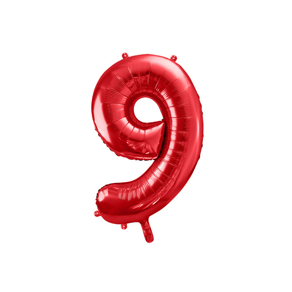 Folienballon '9' 86 cm - rot