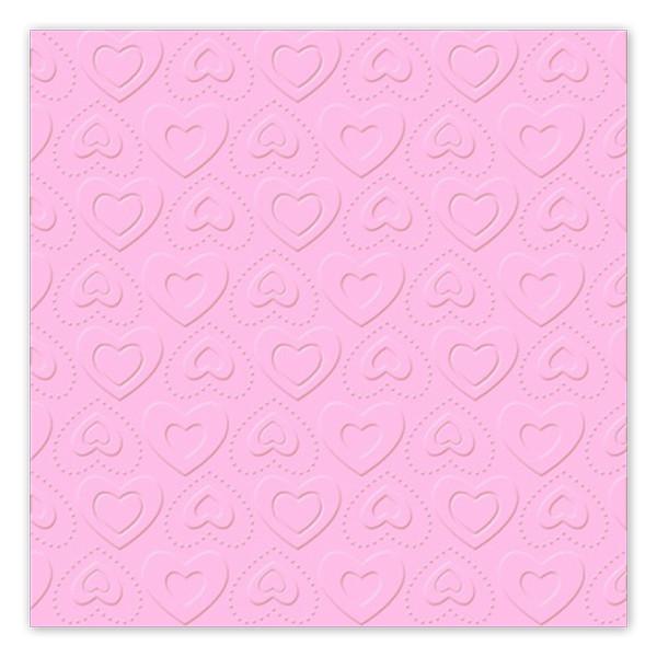 Servietten Herzen geprägt (16 Stück) - rosa