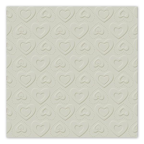 Servietten Herzen geprägt (16 Stück) - taupe