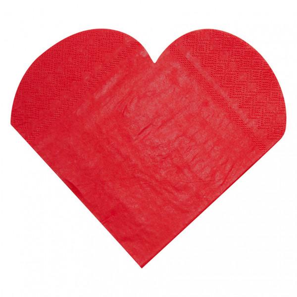 Servietten Herz (20 Stück) - rot