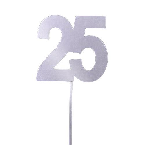Tortenstecker Silberhochzeit '25', Holz - silber