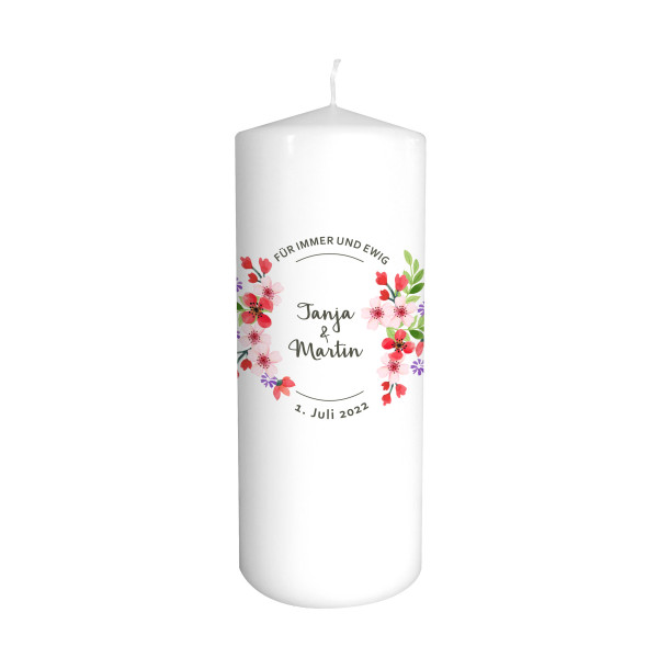 Hochzeitskerze Blumenkranz - Für immer