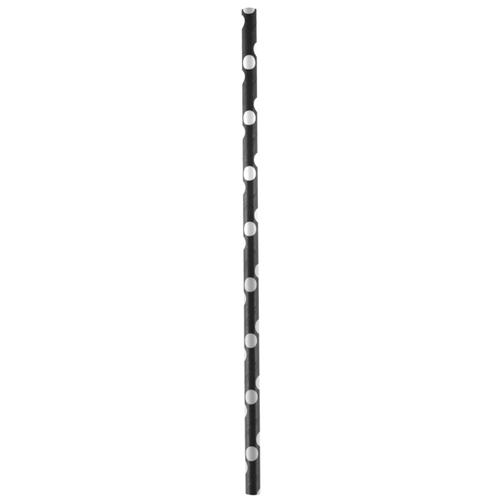 Strohhalme / Trinkhalme 'Dots' (20 Stück) - schwarz