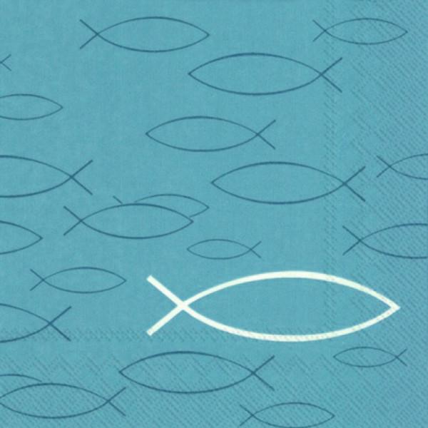 Servietten Fische (20 Stück) - blau