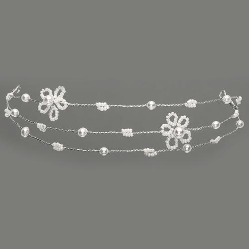 Haarreif / Haarband für Mädchen mit Perlenblüten - creme