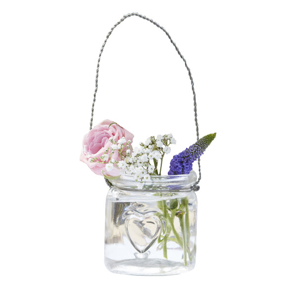 Windlichter / Vase 'Herz' (4 Stück) - transparent