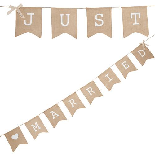 Girlande 'Just Married' - Jute