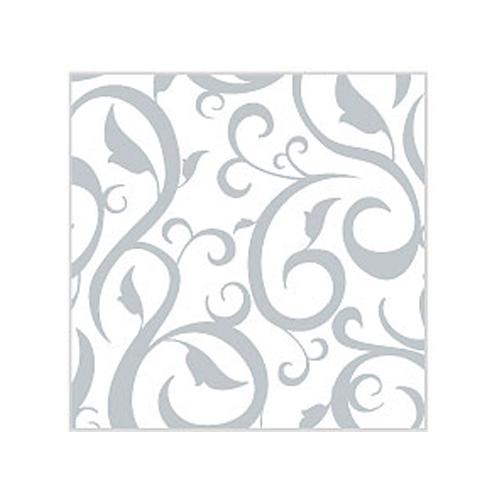 Cocktailservietten Ornament (20 Stück) - weiß & silber