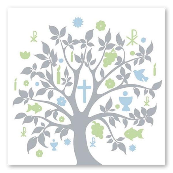 Servietten Baum Kommunion (20 Stück) - hellgrau, hellblau & hellgrün