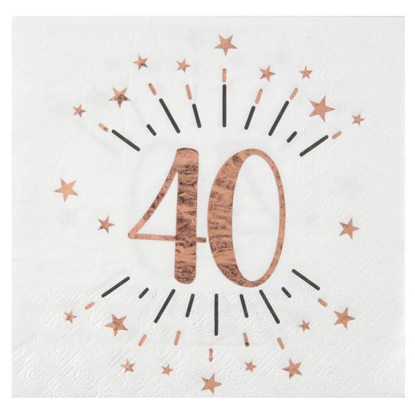 Servietten 40. Geburtstag - weiß & roségold