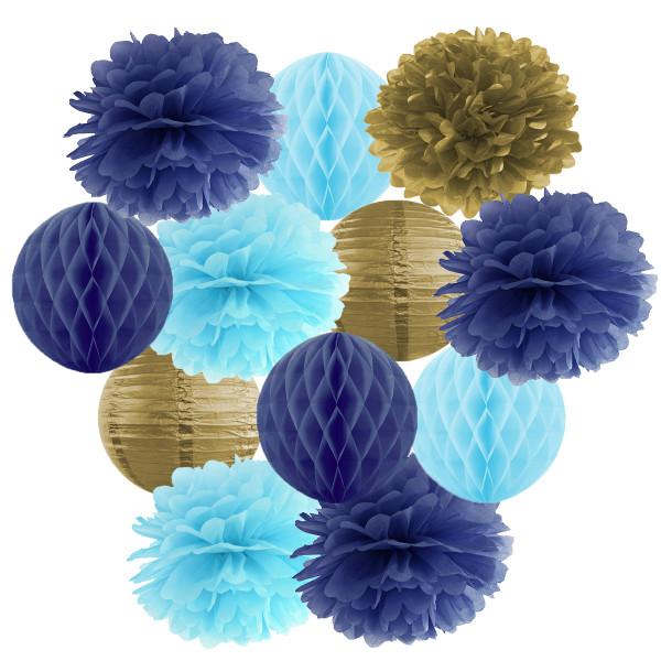 Hängedekoration 12 teilig Mix blau, hellblau & gold