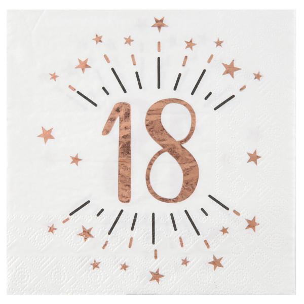 Servietten 18. Geburtstag - weiß & roségold