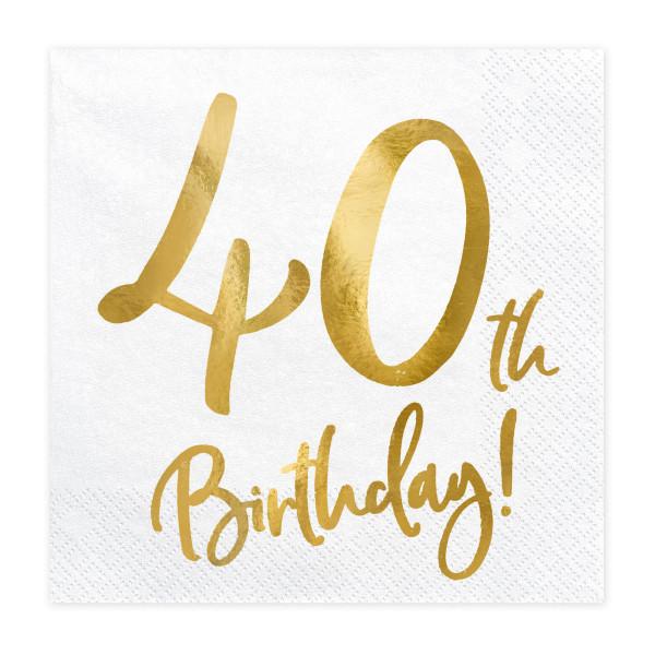 Servietten '40th Birthday' (20 Stück) weiß & gold