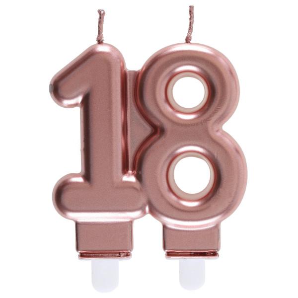 Geburtstagskerze / Kerze '18' - roségold
