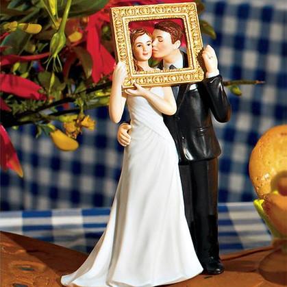 Tortenfigur Brautpaar mit Bilderrahmen