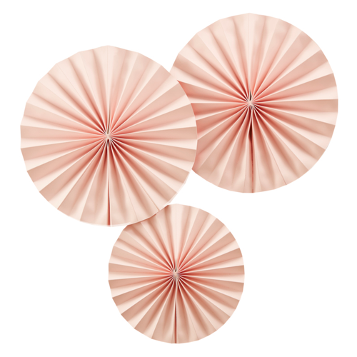 Dekofächer / Dekorosetten (3 Stück) - rosa