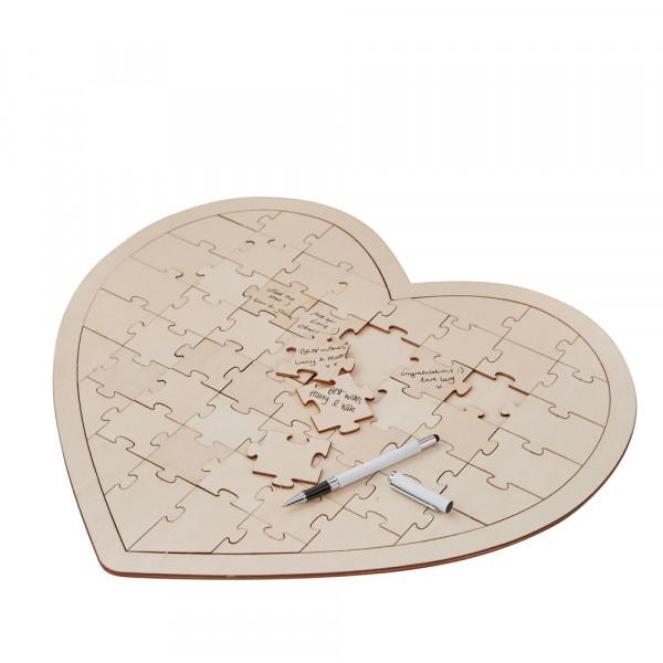 Herz Puzzle, Alternative zum Gästebuch - Holz