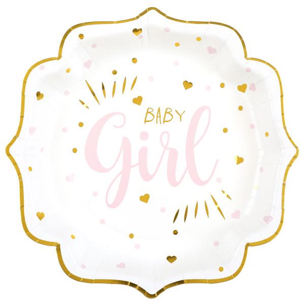 Teller 'Baby Girl' (10 Stück) - weiß, gold & rosa